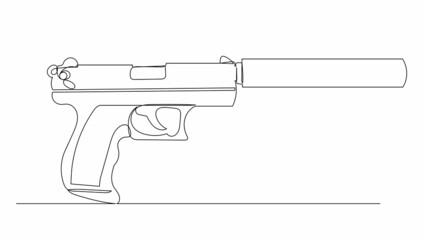 Fototapeta pistol with silencer one line drawing, vector obraz