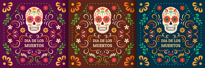 Fototapeta Day of the Dead, Dia de los Muertos. Colorful Mexican cards, posters, banners with flowers and skulls. obraz