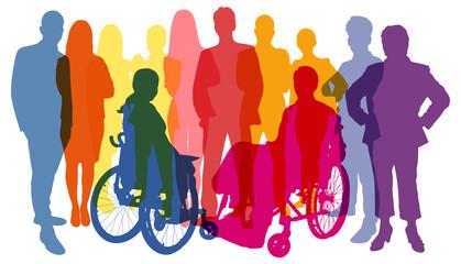 Obraz Silhouetten von Menschen als Bevölkerung und Business Konzept - fototapety do salonu