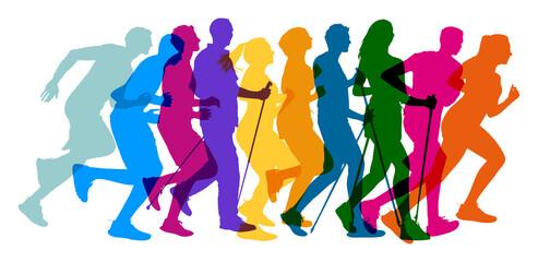 Fototapeta premium Menschen verschiedenen Alters in Bewegung bei Jogging und Nordic Walking