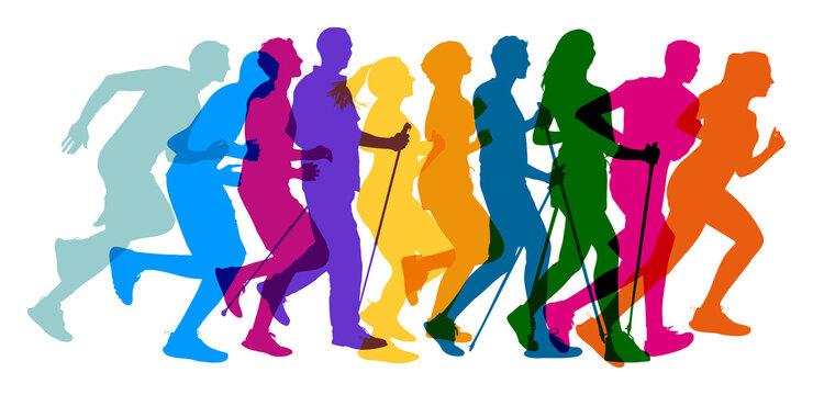 Menschen verschiedenen Alters in Bewegung bei Jogging und Nordic Walking