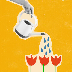 Obraz Contemporary art collage, modern design. Summer time mood. Female hand watering flowers. - fototapety do salonu