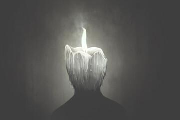 Fototapeta Illustration of candle wax human head melting, surreal abstract concept obraz