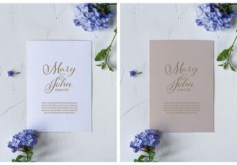 Fototapeta Mockup Invitation Paper Flower obraz