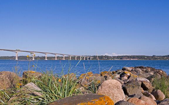 Mors / Denmark: View from Plagen to the Sallingsund bridge