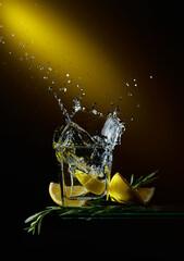 Fototapeta Сocktail with lemon slices and rosemary sprigs. obraz