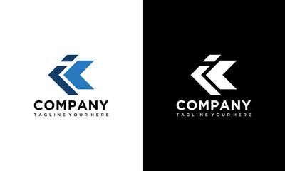 Obraz letter ik and ki logo design vector template. on a black and white background. - fototapety do salonu