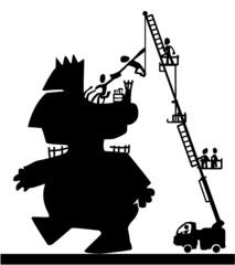 Obraz Giant Figure Driver Orders Cartoon - fototapety do salonu