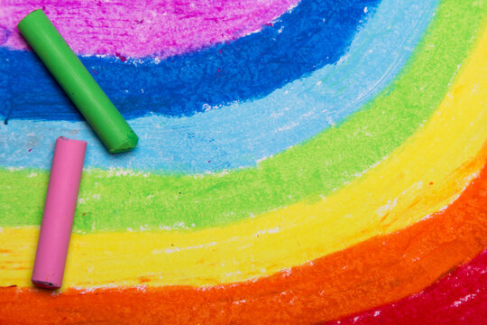 Colorful hand drawing and oil pastel crayons: Beautiful rainbow