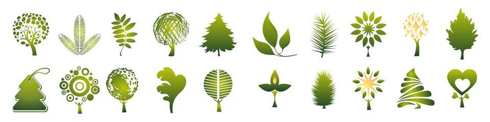 Fototapeta set of grass. environment icons. set of environment icons. obraz
