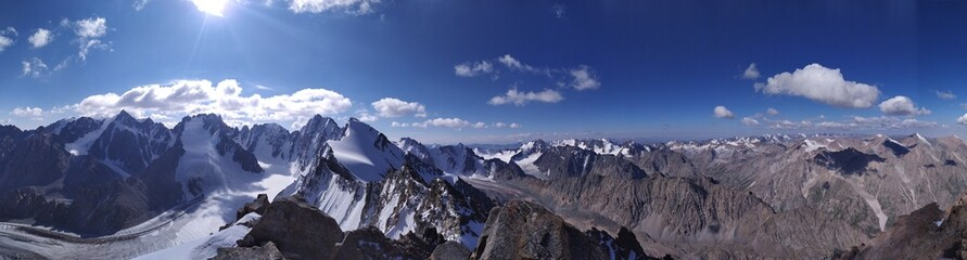 Kyrgyzstan, Ala-Archa national park, Ak-Sai glacier, view from the top of Boks peak