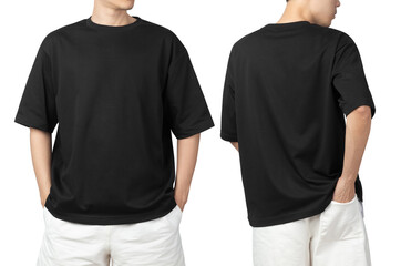 Obraz Young man in blank oversize t-shirt mockup front and back used as design template, isolated on white background with clipping path. - fototapety do salonu