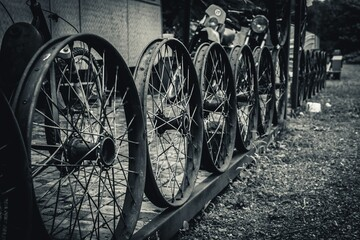 Antique wheels spokes at old yard