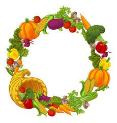 Fototapeta Cornucopia Gold Horn Of Plenty Vegetables Frame obraz
