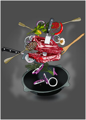 Obraz Mięso na patelni - fototapety do salonu