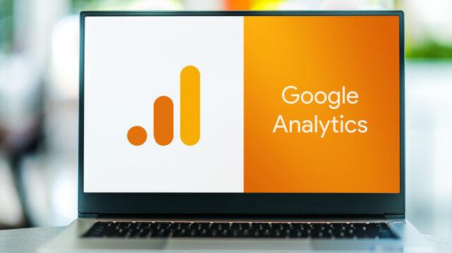 Laptop computer displaying logo of Google Analytics