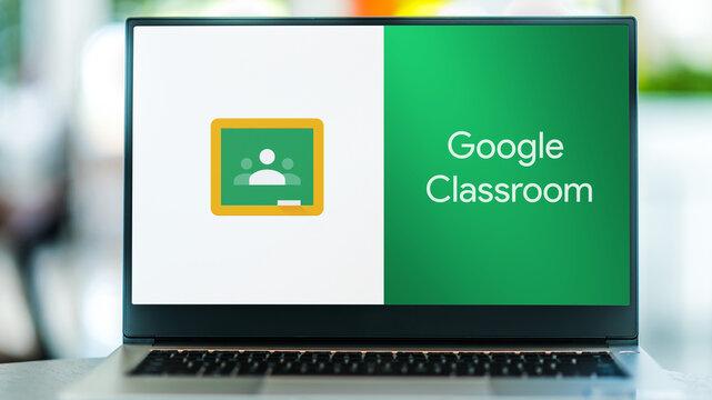 Laptop computer displaying logo of Google Classroom