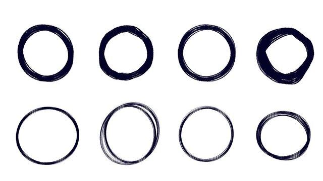 black hand drawn circle set