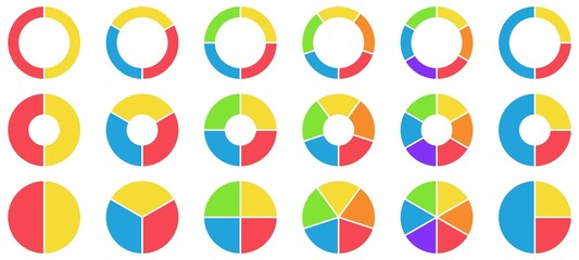 Fototapeta Colorful pie and donut charts. Circle chart, circle sections and round donuts chart pieces. Business infographic vector set obraz