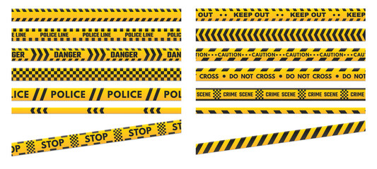 Obraz Caution perimeter stripes. Police line for crime scenes or danger. Black and yellow do not cross and keep out - fototapety do salonu