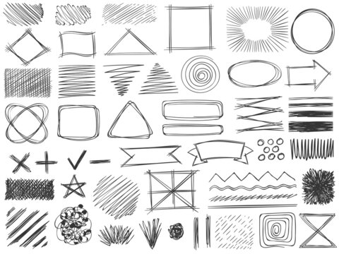Sketch shapes. Monochrome scribble symbols, drawing pencil frame, stroke and shade, hatched shaded badge round and square shape vector set