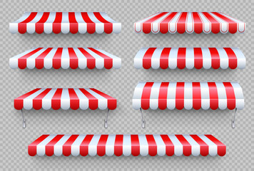 Fototapeta Stripe awning. Cafe tent, shop roof. Canopy sunshade for store window, outdoor market awnings vector set obraz