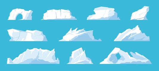 Fototapeta Icebergs. Arctic and North Pole landscape elements, melting ice mountains and glaciers, snow caps and freeze ocean. Vector set obraz