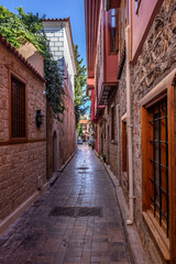 The restored historical houses and narrow streets of Antalya's historical Kaleiçi...