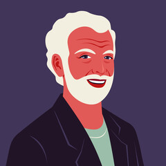 Portrait of a happy elderly man with beard. Avatar of a laughing grandfather. An old businessman. A face in half-turn. Social networks. Vector flat illustration