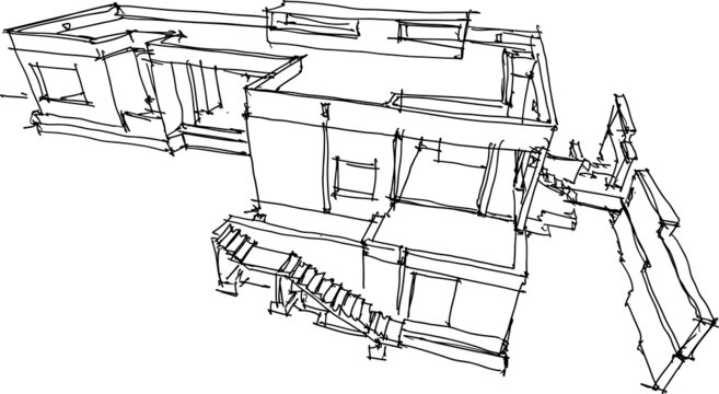 hand drawn architectural sketch of construction of  a modern detached house