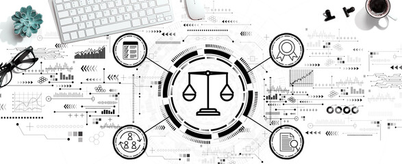 Fototapeta Legal advice service concept with a computer keyboard and a mouse obraz
