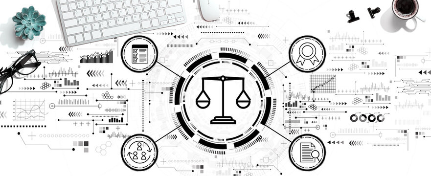 Legal advice service concept with a computer keyboard and a mouse