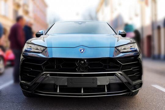 Castelfranco Emilia, Modena italy 24.03.2019 Lamborghini Urus on display on the Via Emilia on the occasion of the Motori & Sapori fair