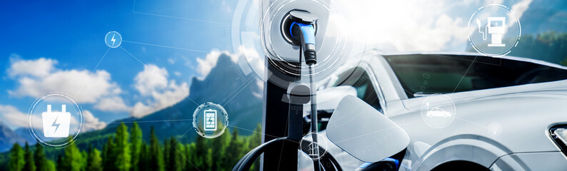 Fototapeta EV charging station for electric car in concept of alternative green energy produced from sustainable resources to supply to charger station in order to reduce CO2 emission . obraz