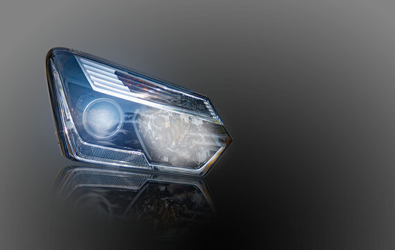 Car headlight, technology, led lights, energy, automotive parts isolated from the background