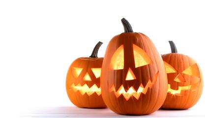 Fototapeta Three Halloween Pumpkins on white obraz