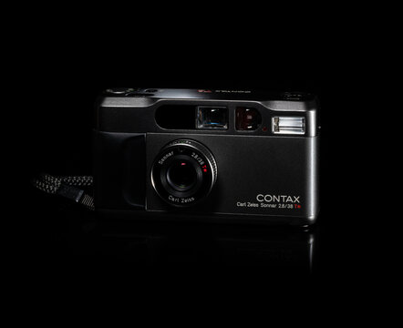 Fukuoka, Japan - october 10, 2021 : Contax T2 compact point-and-shoot film camera isolated on black background