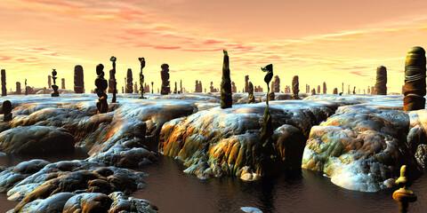 Obraz Alien planet. Stone pillars. Butte. 3D rendering - fototapety do salonu