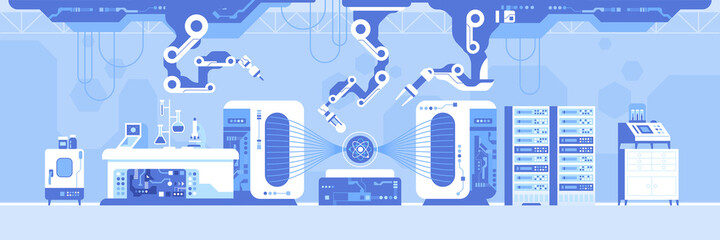 Obraz Automated scientific laboratory with hadron collider horizontal background. Robotic arms research atom molecular substance structure on professional lab equipment. Lab panorama. Vector illustration - fototapety do salonu