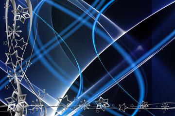 Weihnachten Hintergrund Abstrakt blau weiß silber schwarz Sterne und Schneeflocken Spiralen mit Linien und Wellen