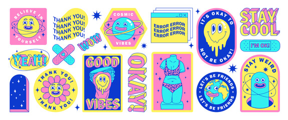Obraz Sticker pack of funny cartoon characters, greek statues, Earth, planet and elements in psychedelic weird style. - fototapety do salonu
