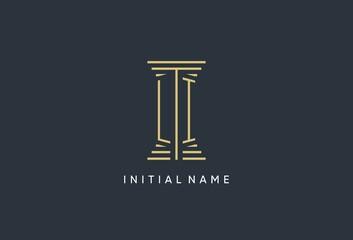 Obraz LI initial monogram with pillar shape logo design - fototapety do salonu