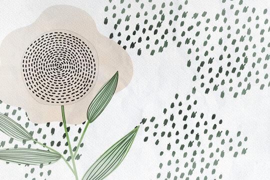 Fond foral papier dessin beige avec fleurs