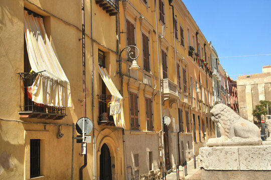 Medieval streets in the old town of Cagliari, Sardinia