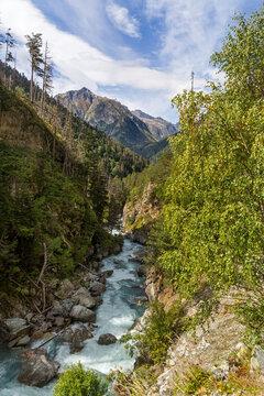Mountain river flows through the gorge