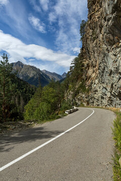 Dangerous bend of the road in the mountains