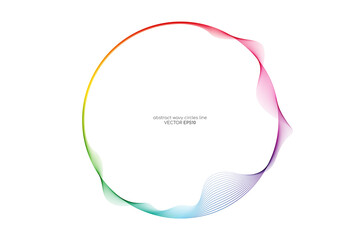 Vector abstract circles lines wavy in round frame colorful rainbow isolated on white background with empty space for text