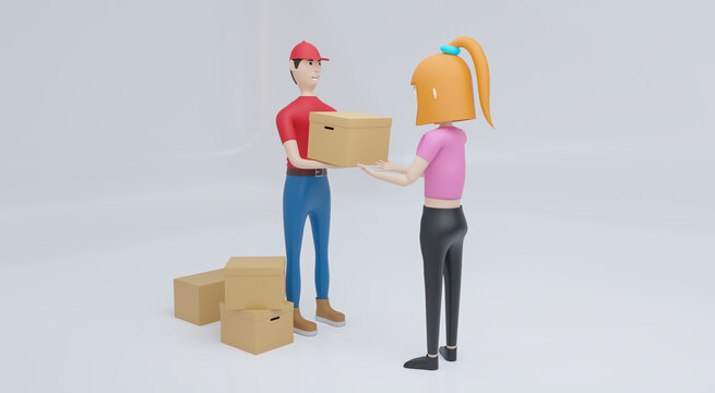 3d rendering young woman receiving parcel from delivery service courier.delivery concept.