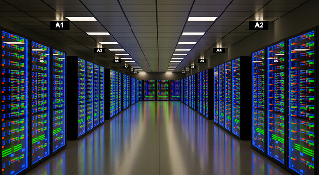 3d rendering server room.