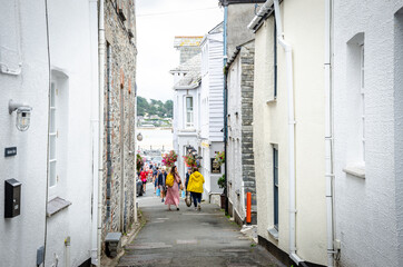 Padstow, Cornwall, United Kingdom, August 20, 2021 - Beautiful rural streets in Padstow a great touristic location in Cornwall